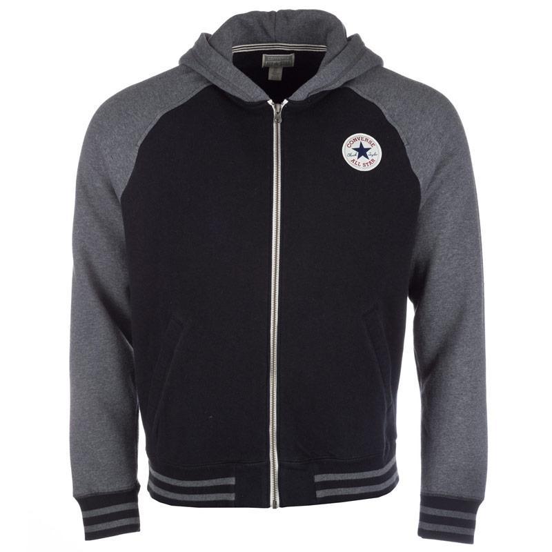 Bunda Converse Mens Core Baseball Hooded Jacket Black, Velikost: S