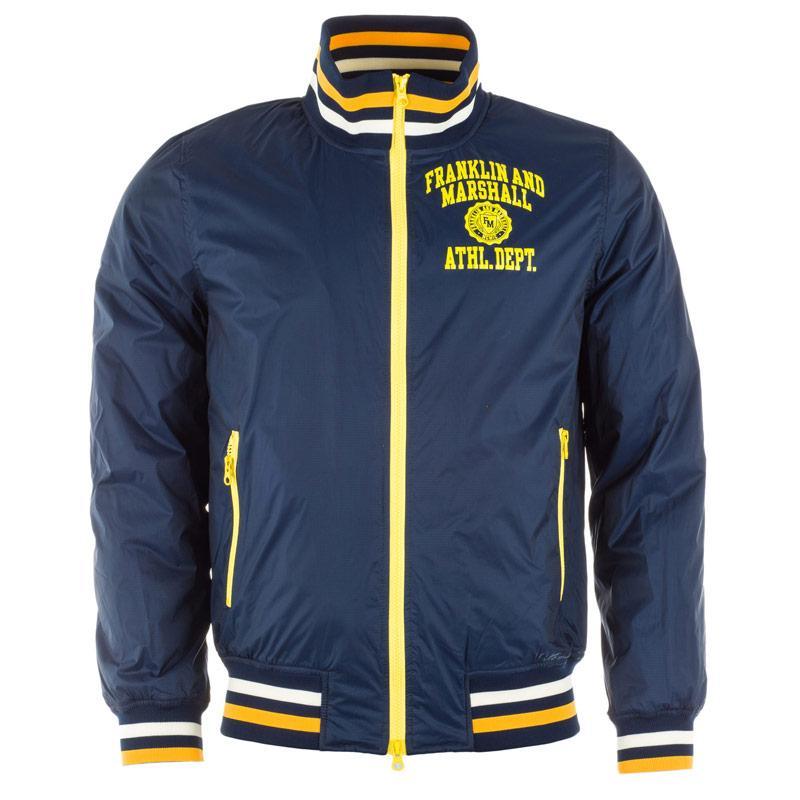 Bunda Franklin And Marshall Mens Fleece Lined Varsity Jacket Navy