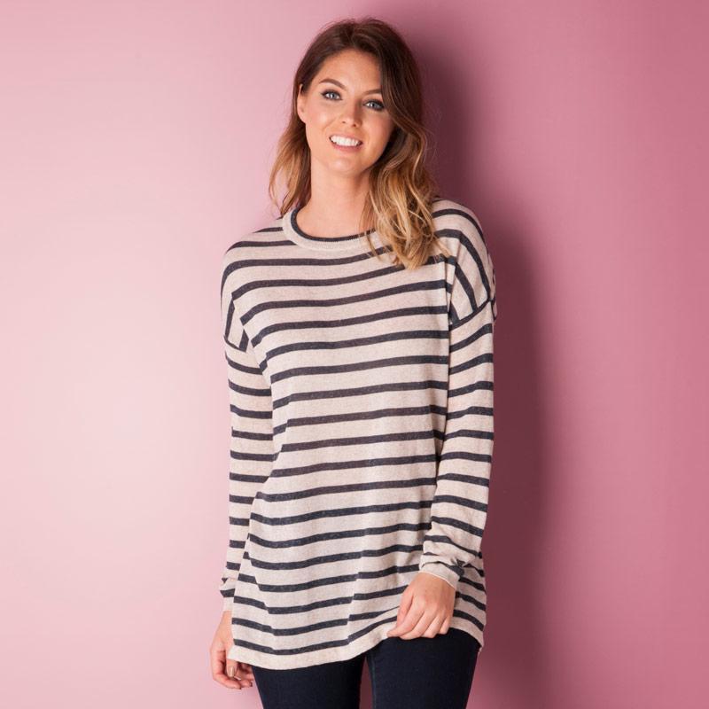 Svetr Vero Moda Womens Altha Stripe Jumper Oatmeal