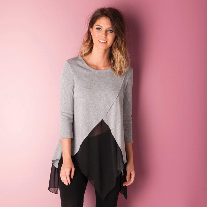 Svetr Vero Moda Womens Janouk Three Quarter Top Light Grey