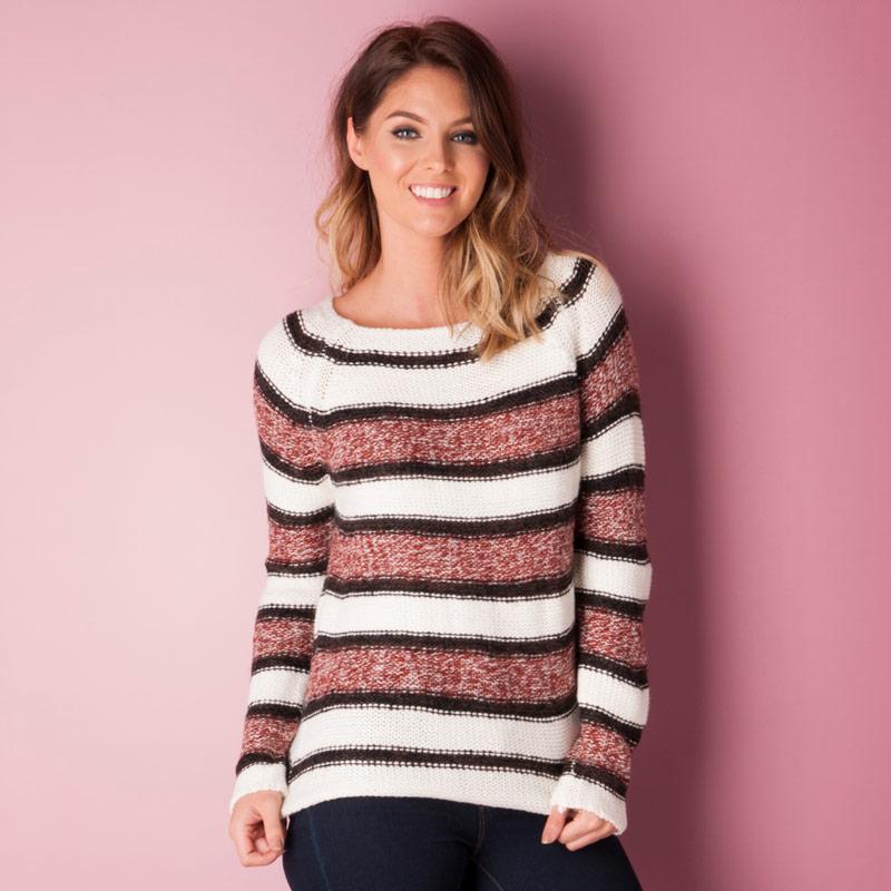 Svetr Vero Moda Womens Mandy Knit Jumper White red