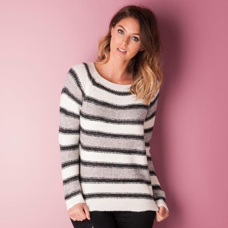 Svetr Vero Moda Womens Mandy Knit Jumper White Grey