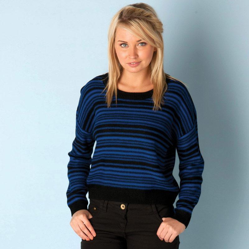 Svetr Brave Soul Womens Stripe Jumper Blue