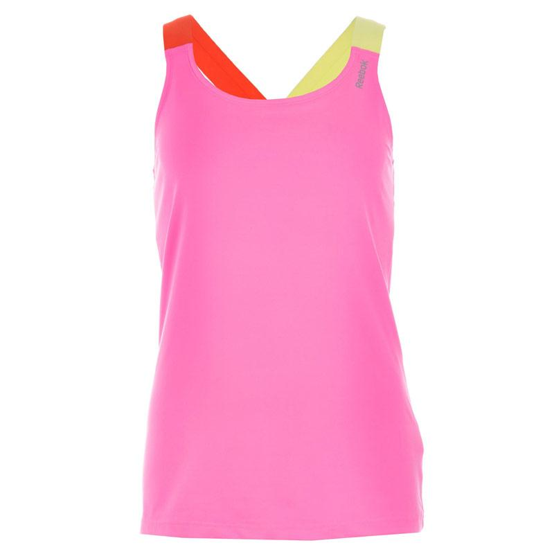 Reebok Womens DF Long Bra Top Pink