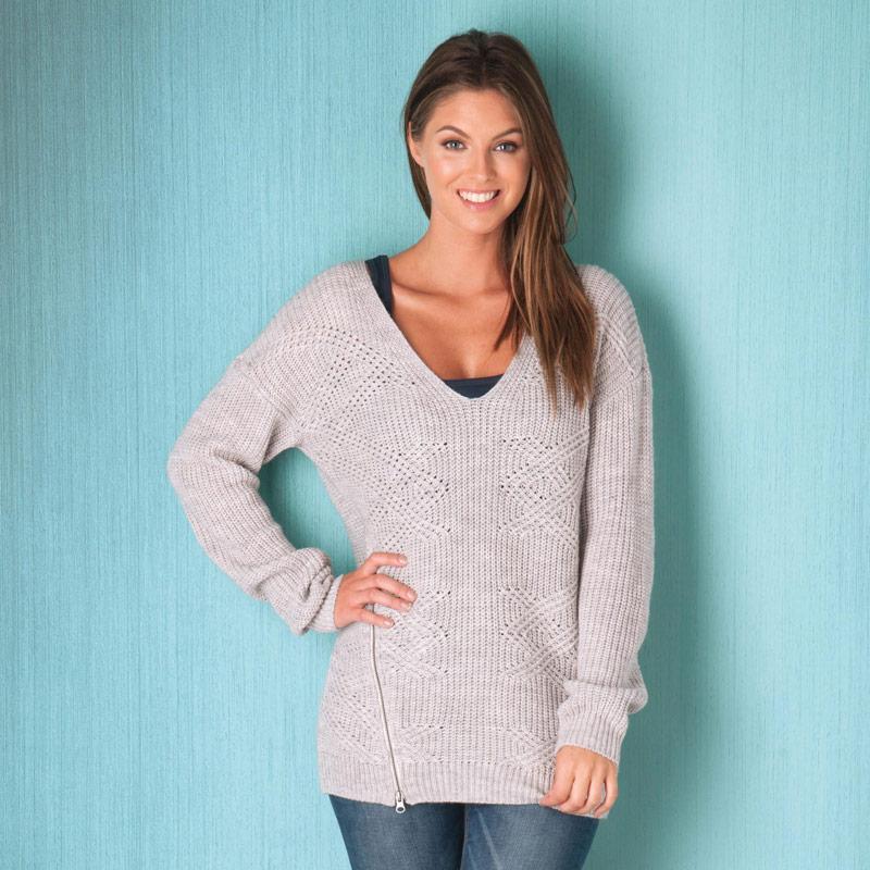 Svetr Vero Moda Womens Herley Knit Jumper Grey Marl