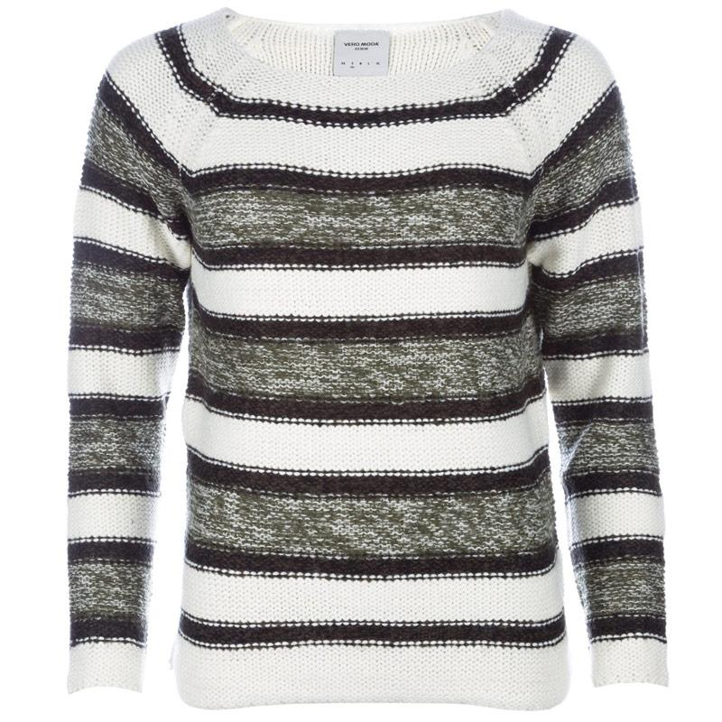 Svetr Vero Moda Womens Mandy Knit Jumper White Green