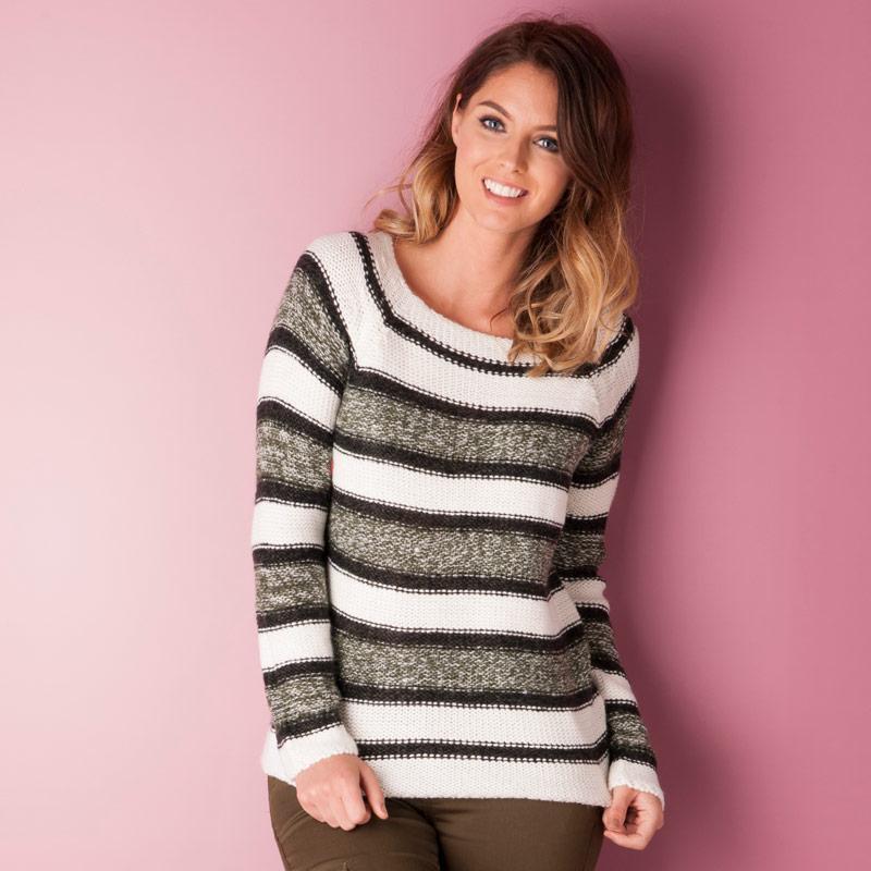 Svetr Vero Moda Womens Mandy Knit Jumper White Green