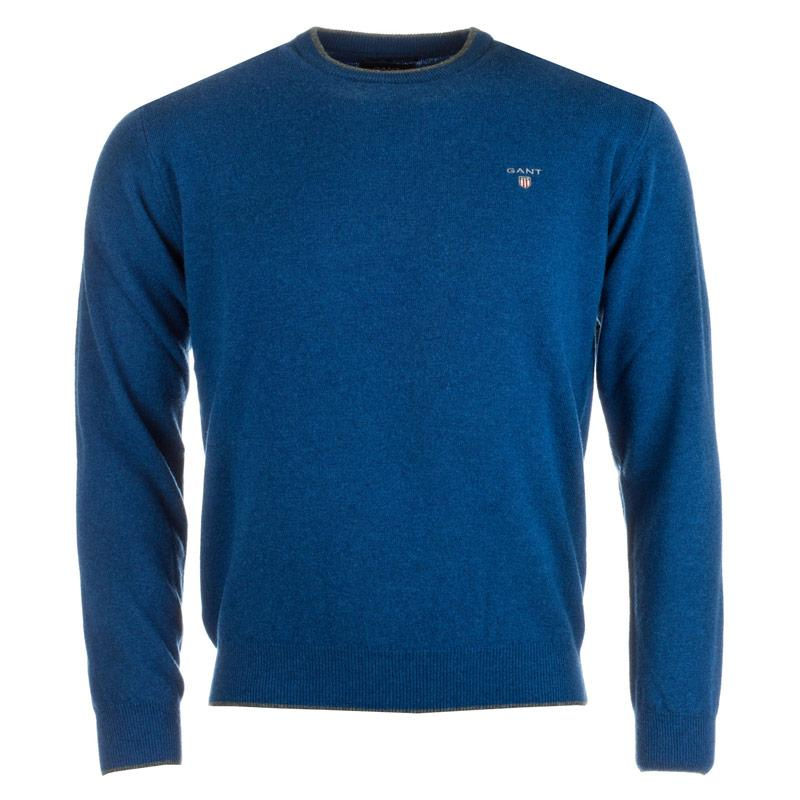Gant Mens Crew Neck Lambswool Sweater Indigo