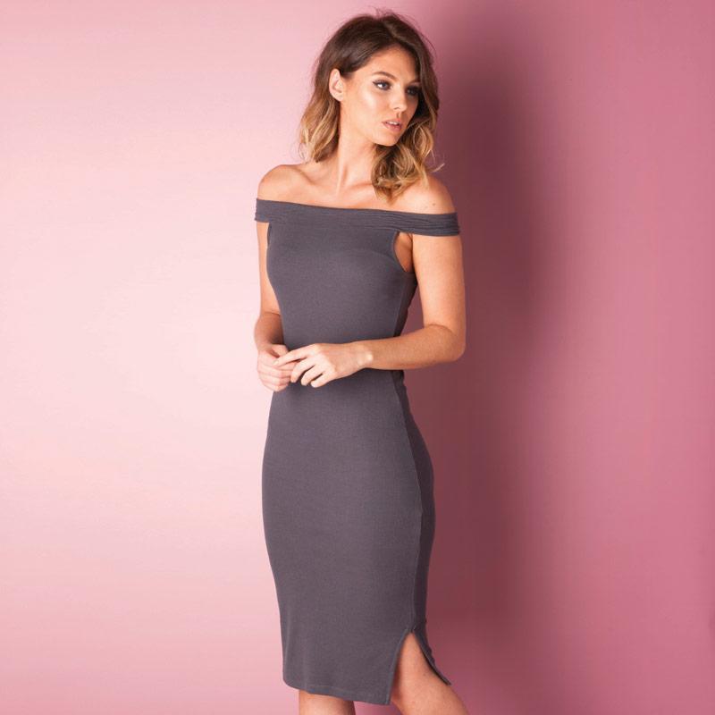 Šaty Vero Moda Womens Lola Boat Neck Dress Grey