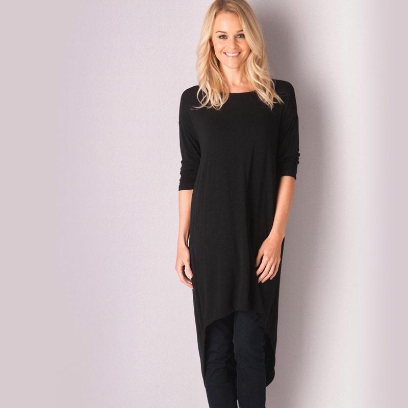 Šaty Vero Moda Womens Viola Hi Lo Dress Black