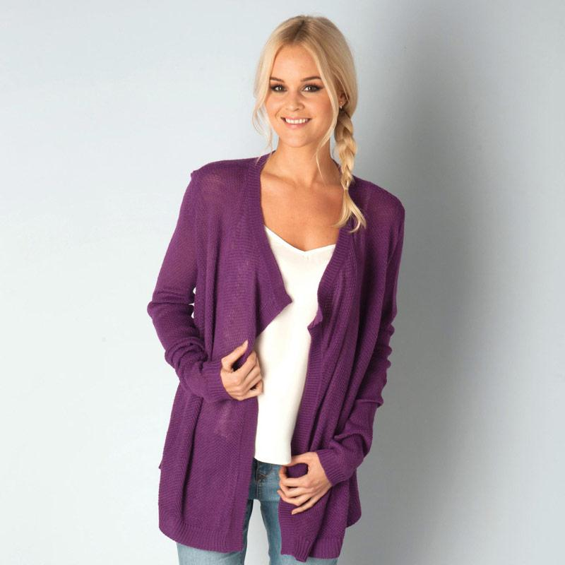 Svetr Jacqueline De Yong Womens Columbus Knit Cardigan Purple