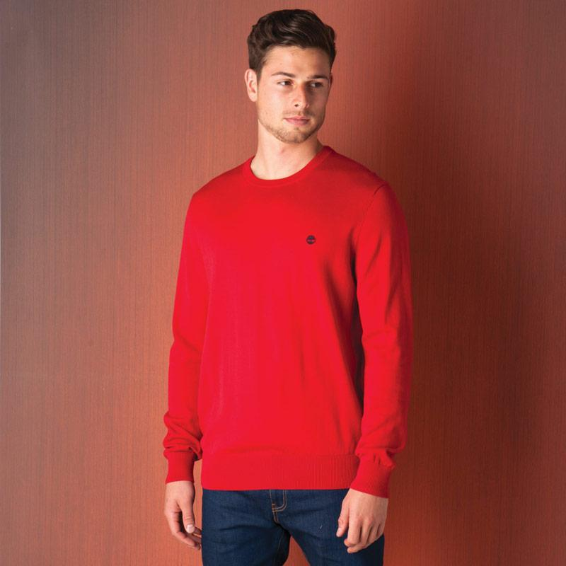 Timberland Mens Williams River Crew Knit Jumper Red