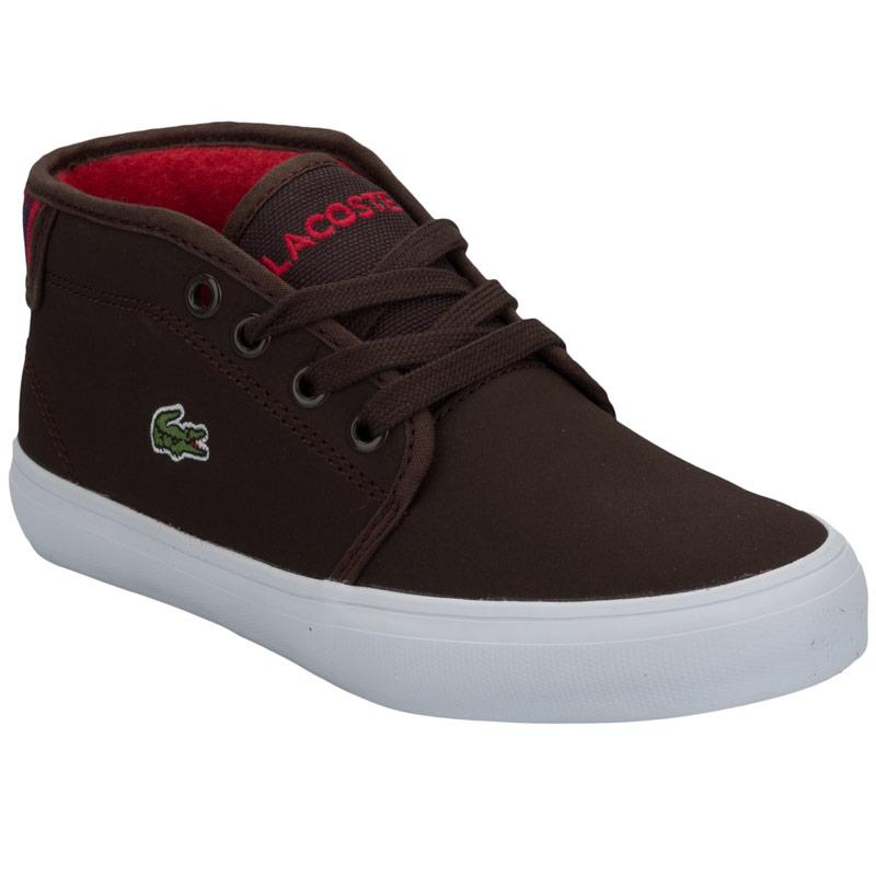 Boty Lacoste Children Boys Ampthill Chunky Trainers Dark Brown