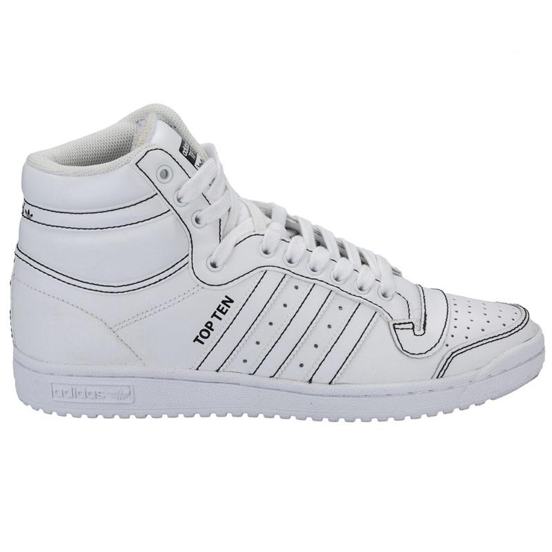 Boty Adidas Originals Mens Top Ten Hi Trainers White, Velikost: UK4 (euro 37)