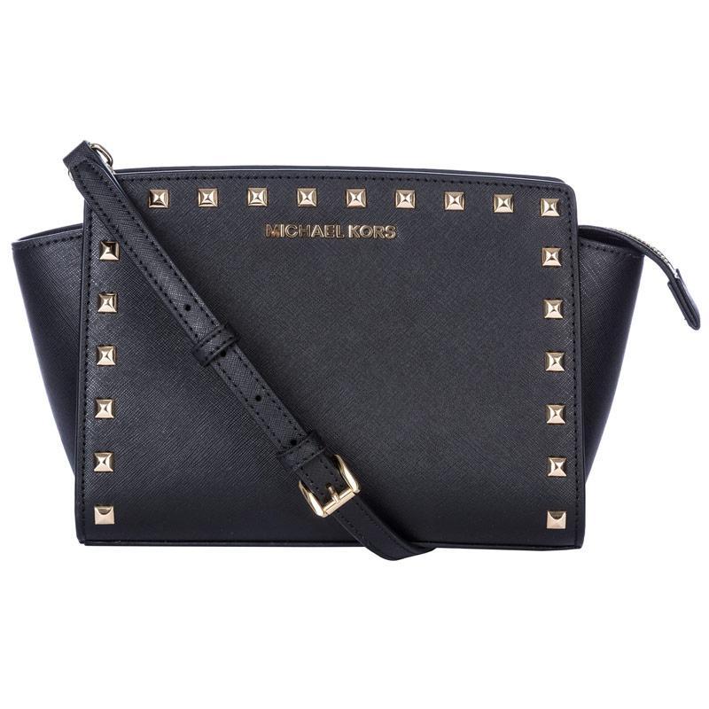 Michael Kors Womens Selma Medium Studded Leather Messenger Bag Black