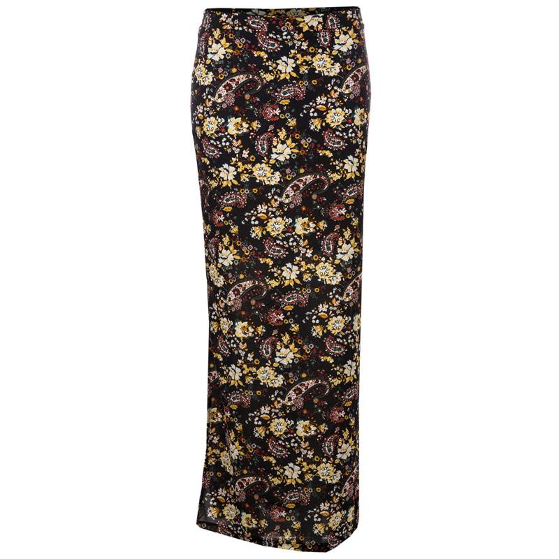 Sukně Only Womens Gerda Long Slit Paisley Skirt Black