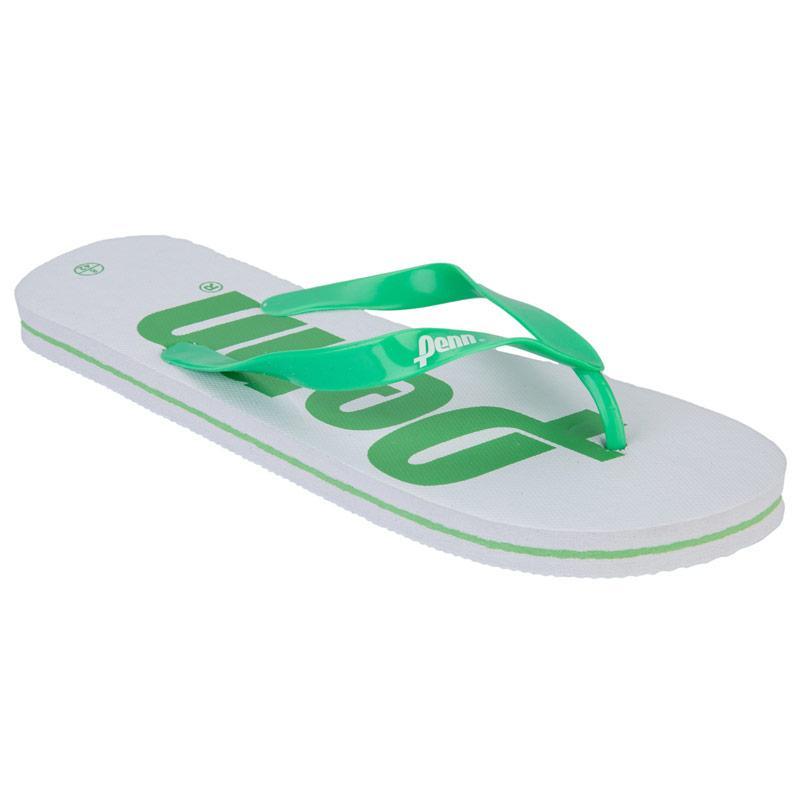 Boty Penn Mens Logo Flip Flops White Green