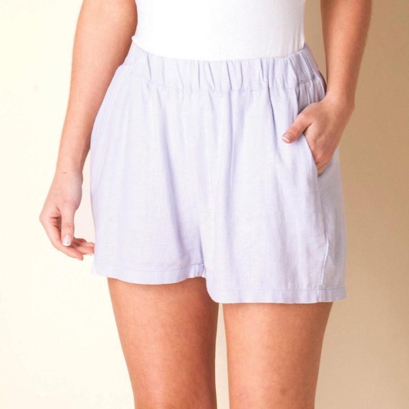 Šortky Vero Moda Womens Linen Shorts Purple