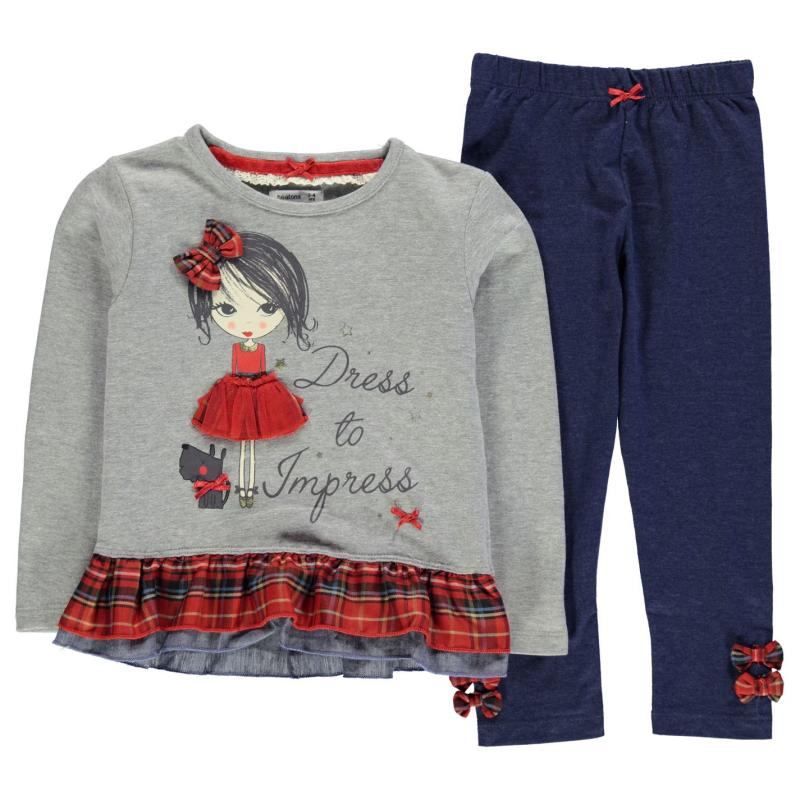 The Spirit Of Christmas Character Checked Set Child Girls Grey