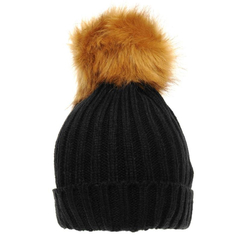 Vero Moda Fur Beannie Ladies Black