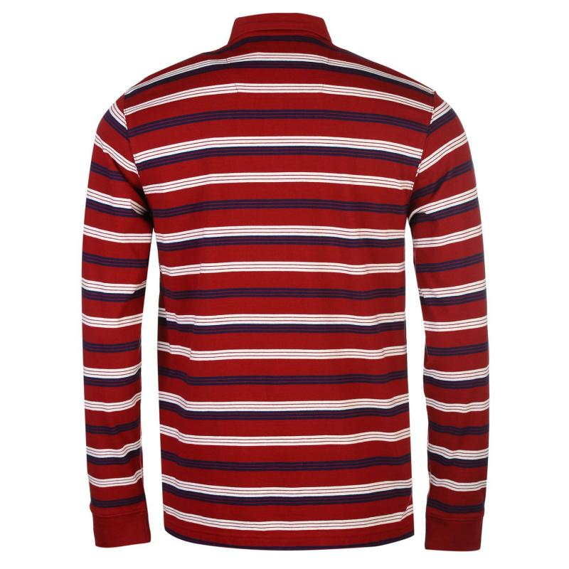 Pierre Cardin Long Sleeve Polo Shirt Mens Dark Red