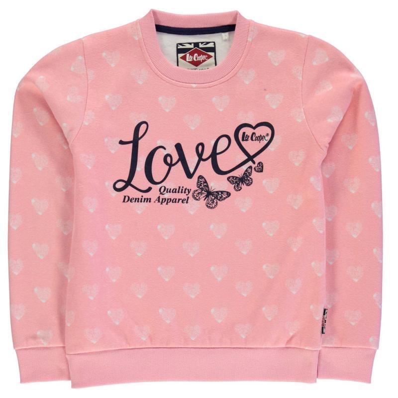 Lee Cooper Textured AOP Crew Sweater Junior Girls Pink Hearts