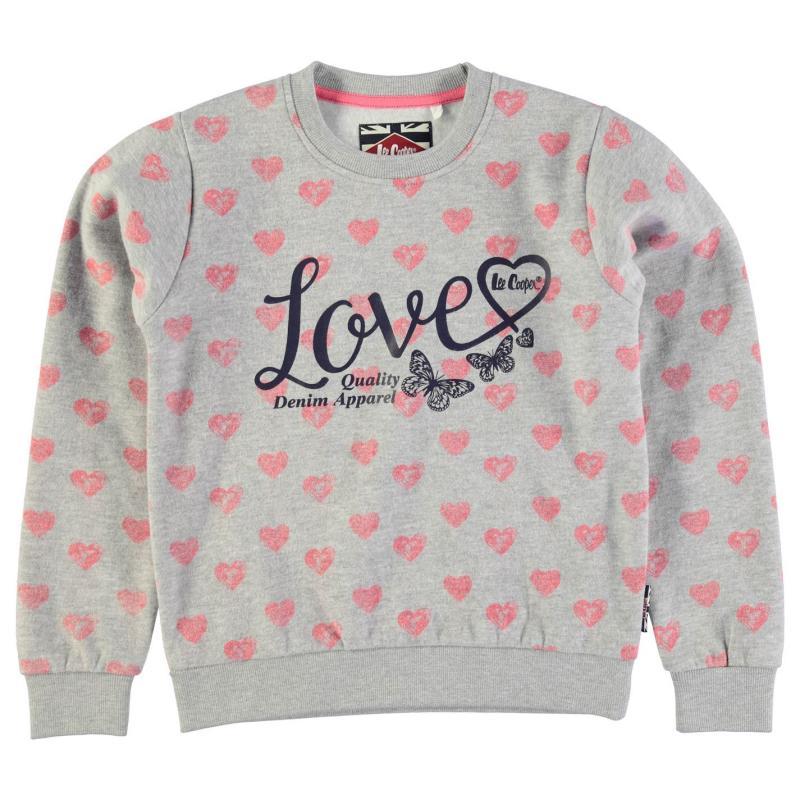 Lee Cooper Textured AOP Crew Sweater Junior Girls Grey M Hearts