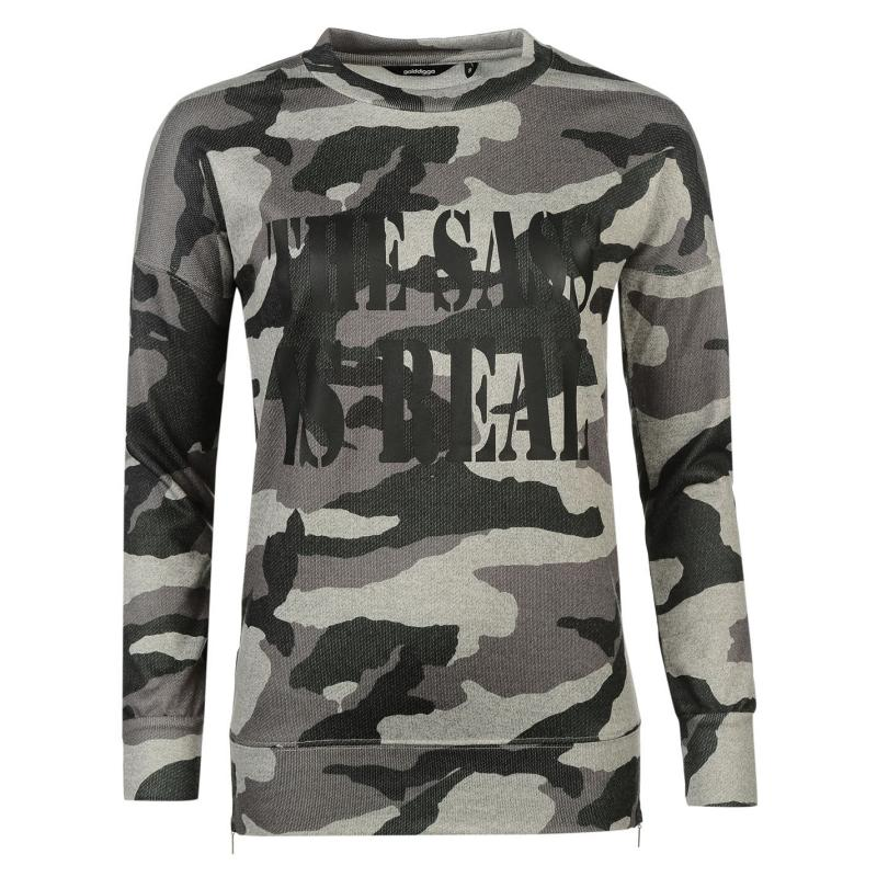 Svetr Golddigga Slogan Zipped Sweater Ladies Sass/Camo
