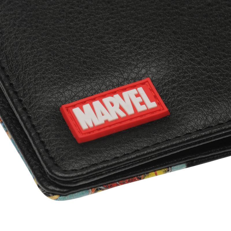 Marvel Retro Red Bi Fold Wallet Mens Black