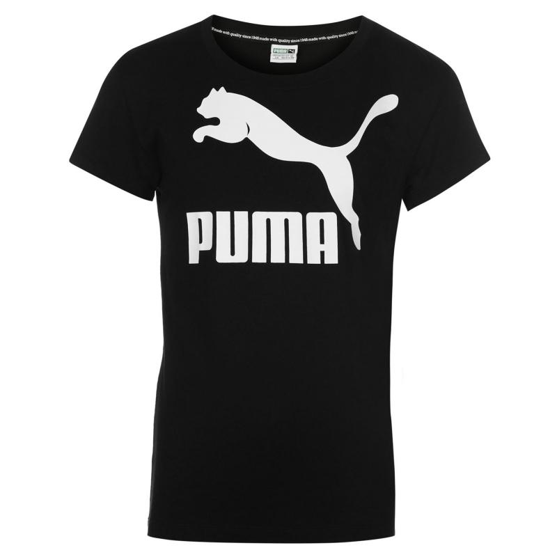 Puma Archive Logo Tee Junior Girls Black