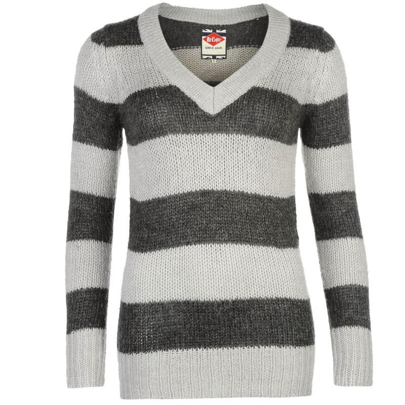 Svetr Lee Cooper Essential Stripe V Neck Knit Sweater Ladies Char...