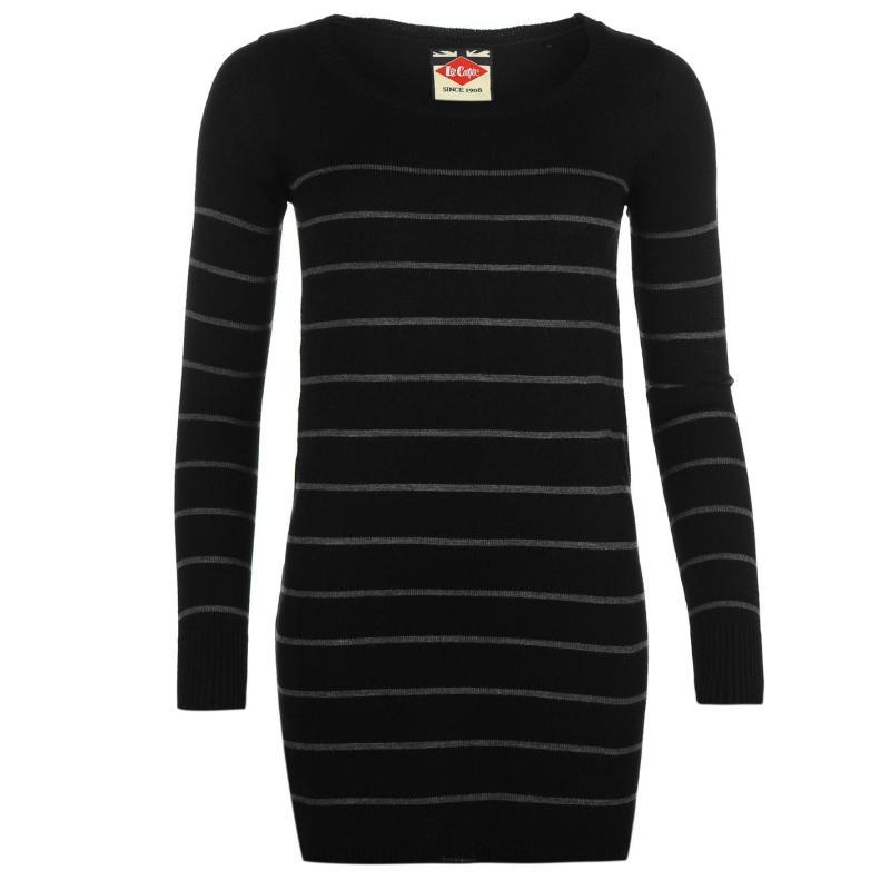 Svetr Lee Cooper Stripe Long Knit Jumper Ladies Black/Charcoal