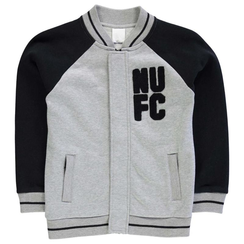 Bunda NUFC Baseball Jacket Junior Boys Grey/Black