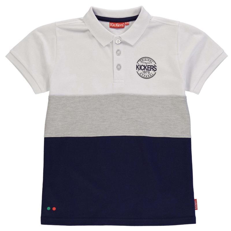 Donnay Colour and Stripe Polo Shirt Junior Boys Navy/Wht/Grey M