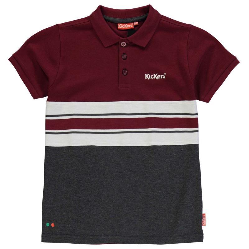 Donnay Colour and Stripe Polo Shirt Junior Boys Char M/Wht/Burg