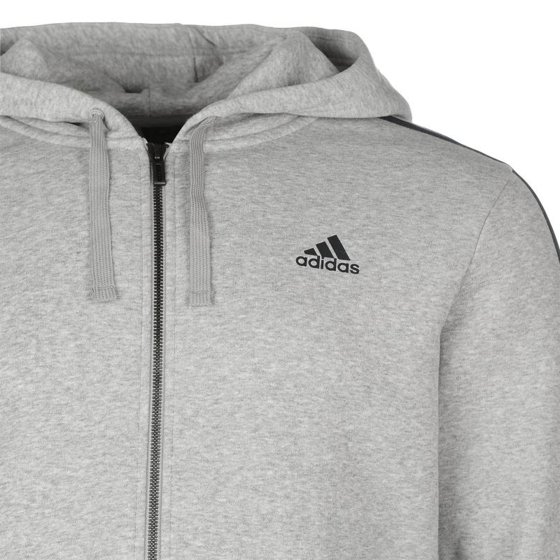 Mikina adidas Essentials 3 Stripe Logo Hoodie Grey Heather