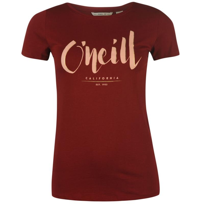 ONeill Logo Short Sleeve T Shirt Ladies Black Out