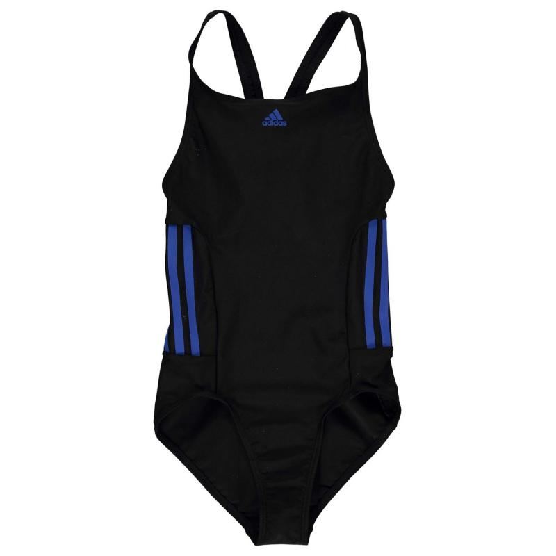 adidas Three Stripe Swimsuit Junior Girls Black/White