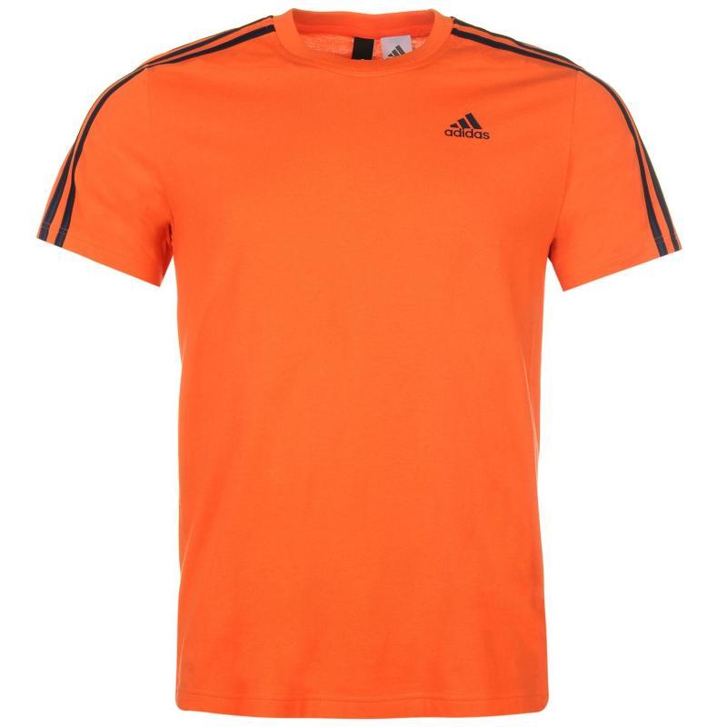 Tričko adidas Essential Three Stripe T Shirt Mens Energy/Navy