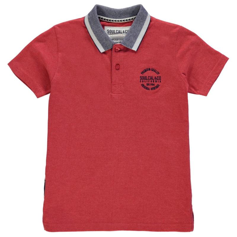 SoulCal Peached Polo Shirt Junior Boys Red Marl