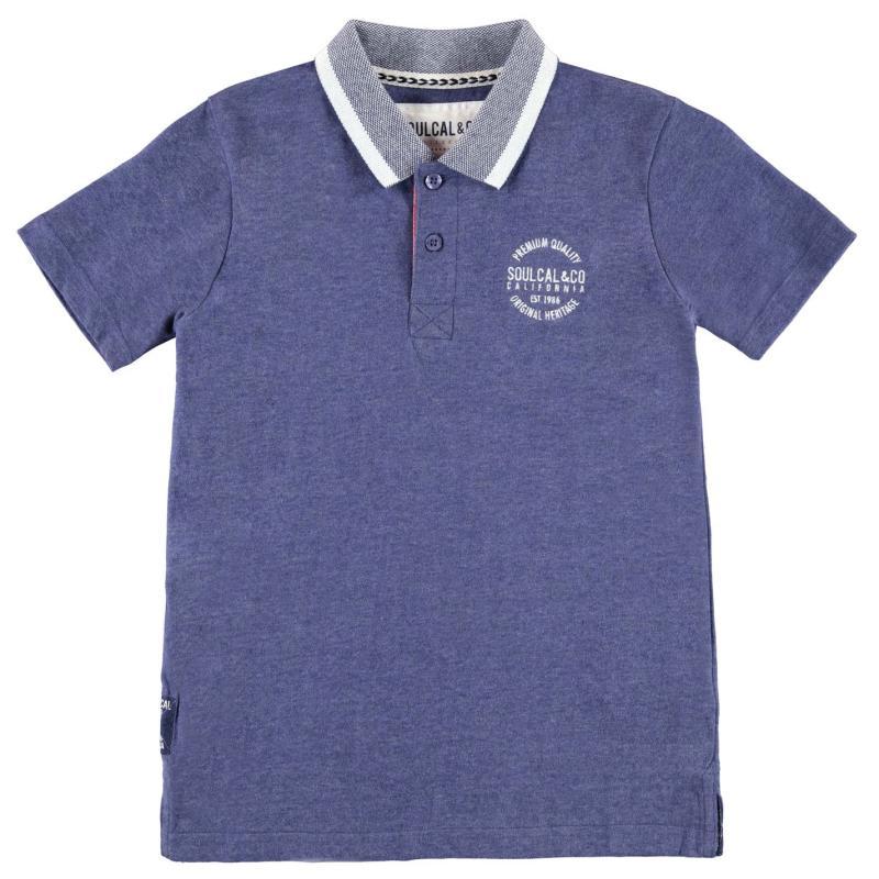 SoulCal Peached Polo Shirt Junior Boys Denim Marl