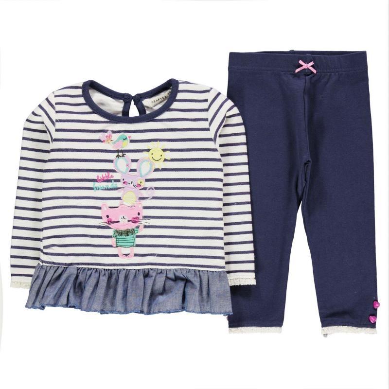 Crafted Frill Set Child Girls Navy Stripe