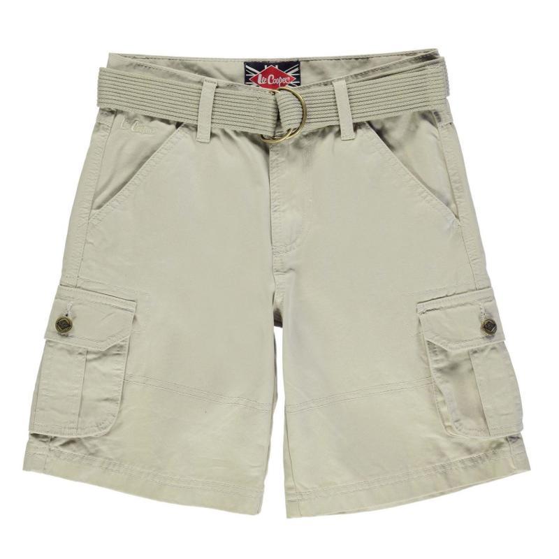 Kalhoty Lee Cooper Belted Cargo Shorts Junior Boys Stone