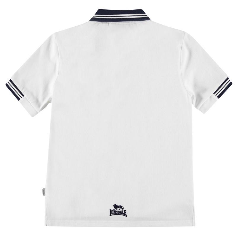 Lonsdale Lion Polo Shirt Junior Boys White/Navy