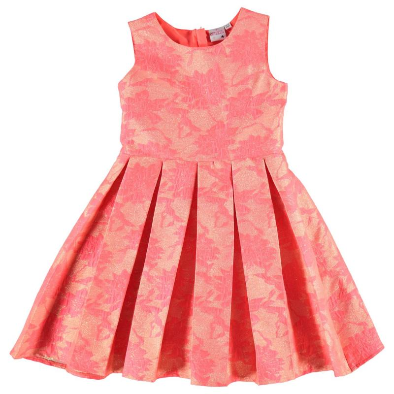 Šaty Glitzy Party Dress Infant Girls Pink Jaquard