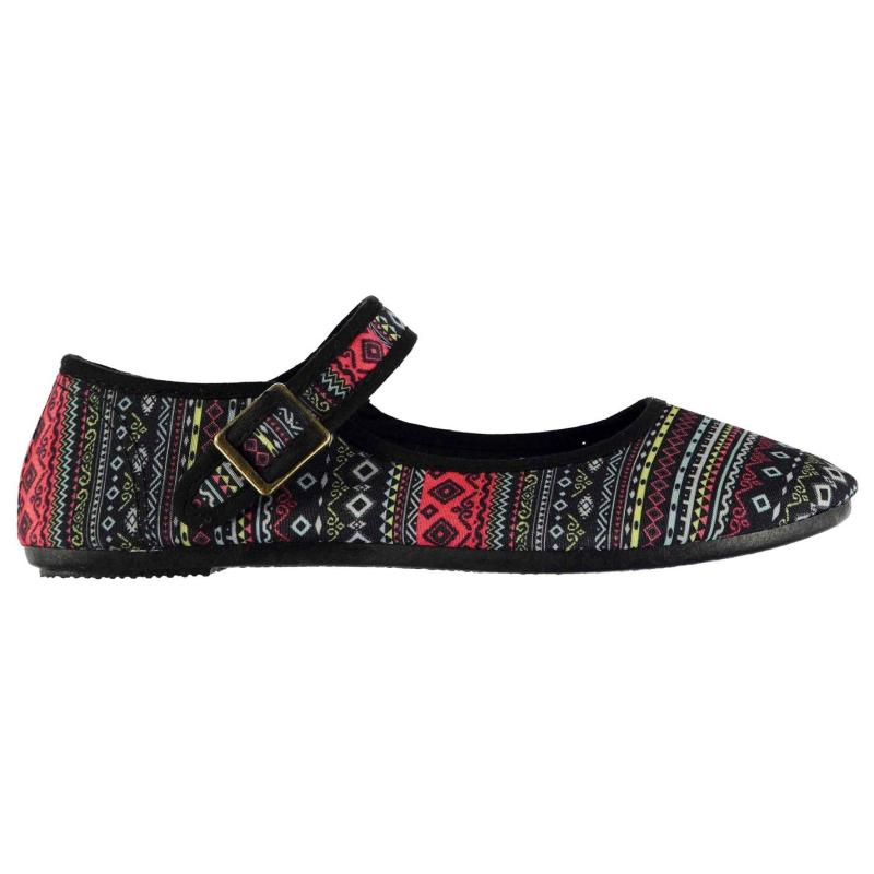 Miss Fiori Ladies Canvas Mary Jane Shoes Black