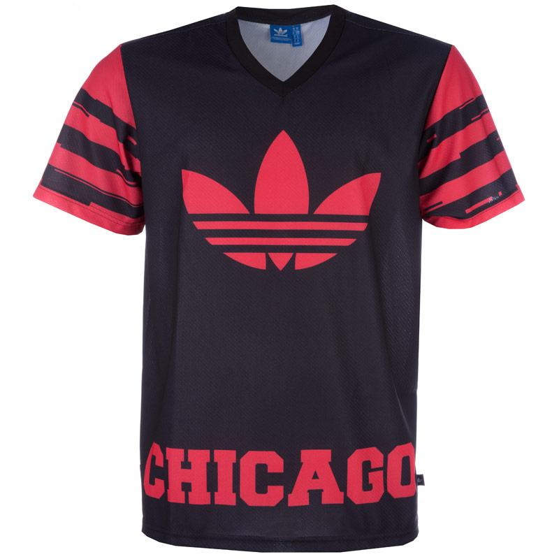 Tričko Adidas Originals Mens Chicago Bulls O T-Shirt Black Red, Velikost: S