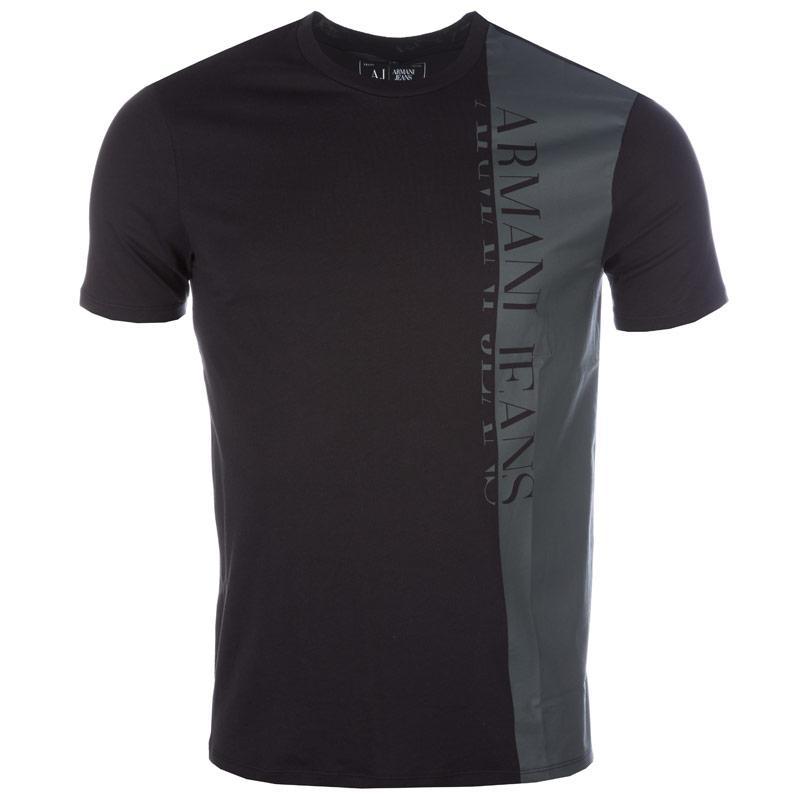 Tričko Armani Mens Vertical Large Logo T-Shirt Black, Velikost: M