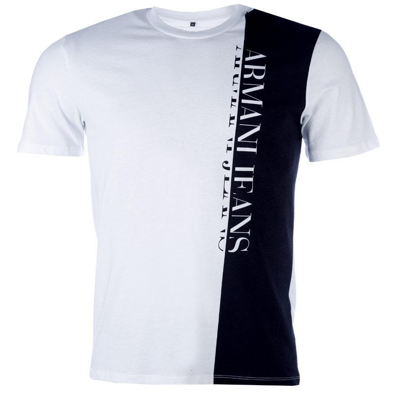 Tričko Armani Mens Vertical Large Logo T-Shirt White, Velikost: M