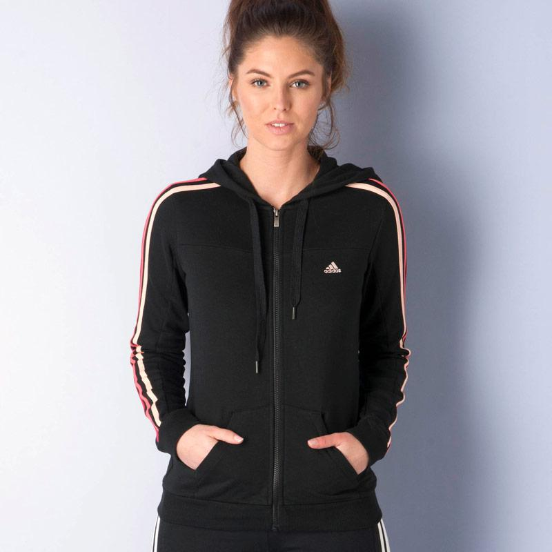 Mikina s kapucí Adidas Womens Essentials 3S Hooded Track Top Black, Velikost: 4-7 (37-41)